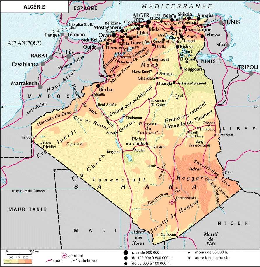 carte du maghreb