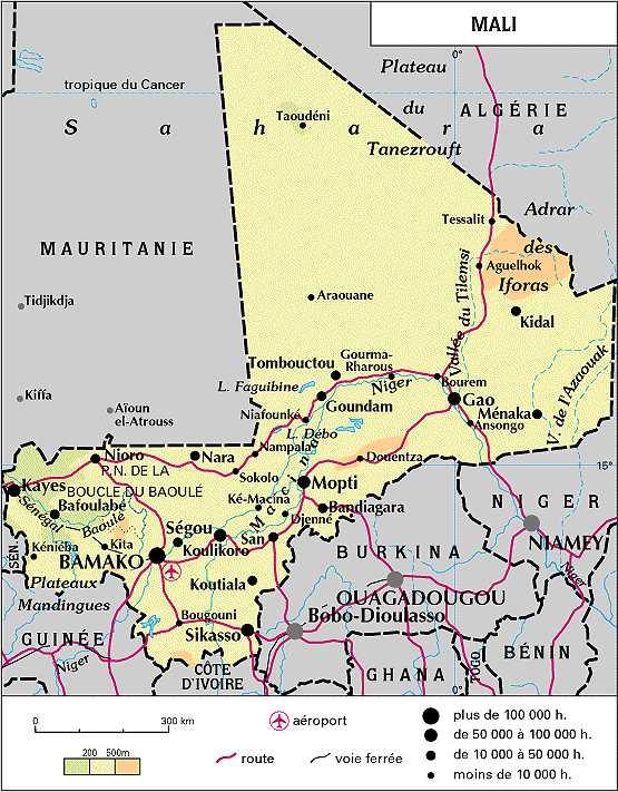 Mali carte géographique